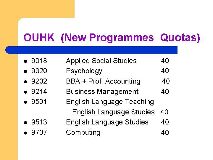 OUHK (New Programmes Quotas) l l l l 9018 9020 9202 9214 9501 9513