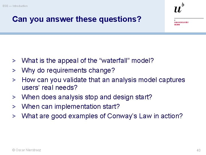 ESE — Introduction Can you answer these questions? > What is the appeal of
