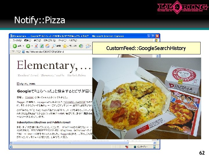 Notify: : Pizza Custom. Feed: : Google. Search. History 2006/06/30 62
