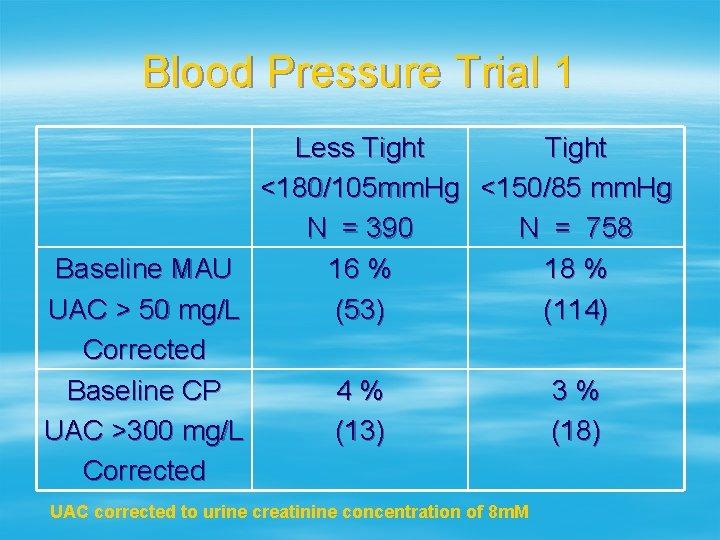 Blood Pressure Trial 1 Less Tight <180/105 mm. Hg <150/85 mm. Hg N =