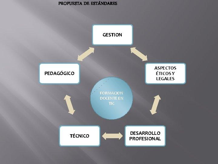 PROPUESTA DE ESTÁNDARES GESTION ASPECTOS ÉTICOS Y LEGALES PEDAGÓGICO FORMACION DOCENTE EN TIC TÉCNICO