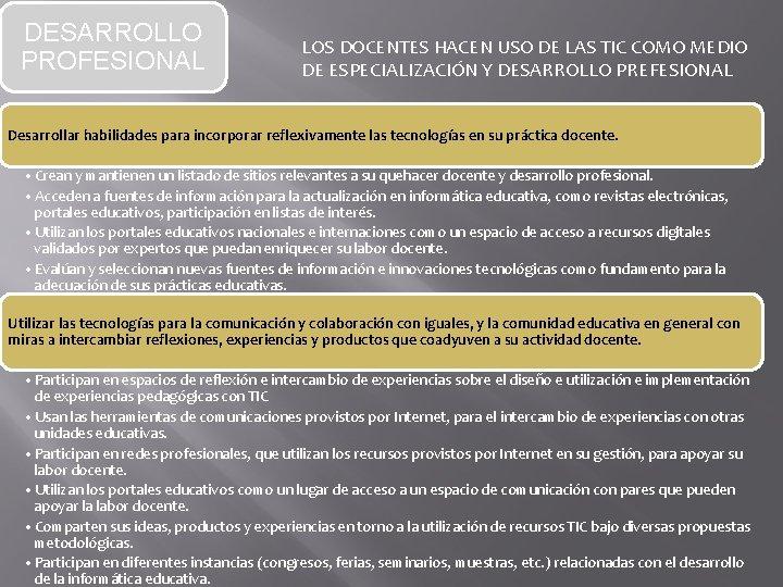 DESARROLLO PROFESIONAL LOS DOCENTES HACEN USO DE LAS TIC COMO MEDIO DE ESPECIALIZACIÓN Y