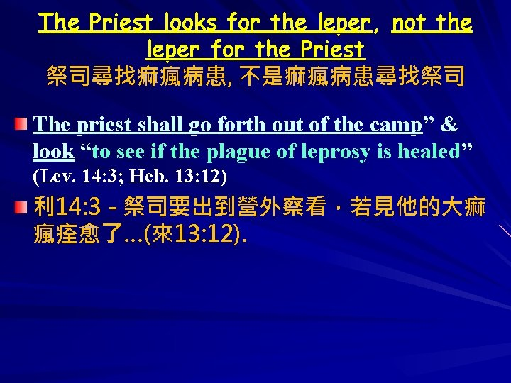 The Priest looks for the leper, not the leper for the Priest 祭司尋找痲瘋病患, 不是痲瘋病患尋找祭司