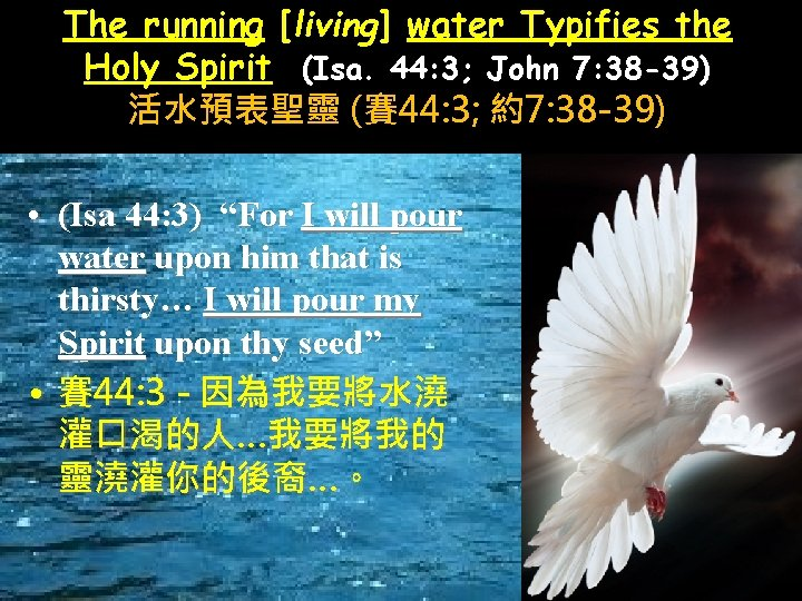 The running [living] water Typifies the Holy Spirit (Isa. 44: 3; John 7: 38