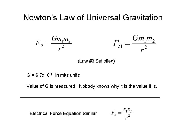 Newton's Law of Universal Gravitation (Law #3 Satisfied) G = 6. 7 x 10