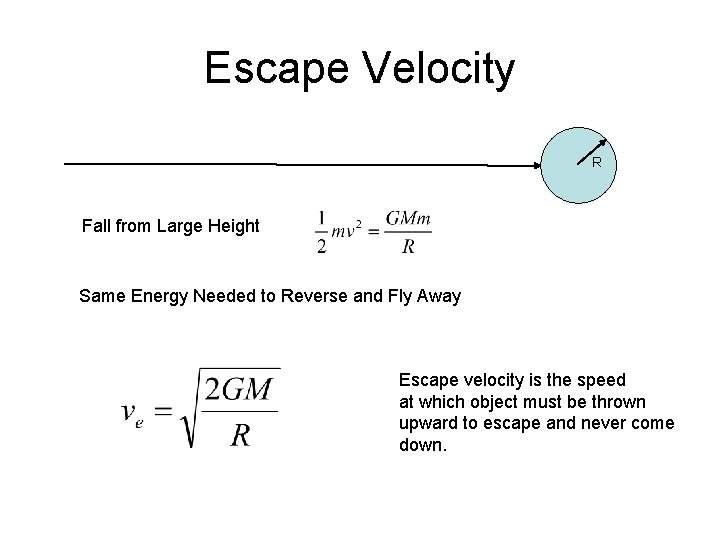 Escape Velocity R Fall from Large Height Same Energy Needed to Reverse and Fly
