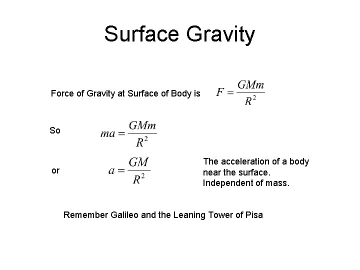 Surface Gravity Force of Gravity at Surface of Body is So or The acceleration
