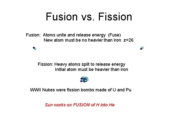 Fusion vs. Fission Fusion: Atoms unite and release energy (Fuse) New atom must be