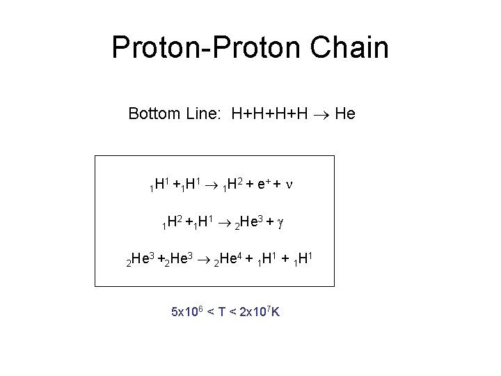 Proton-Proton Chain Bottom Line: H+H+H+H He 1 H 1+ 1 H 2 He 3+