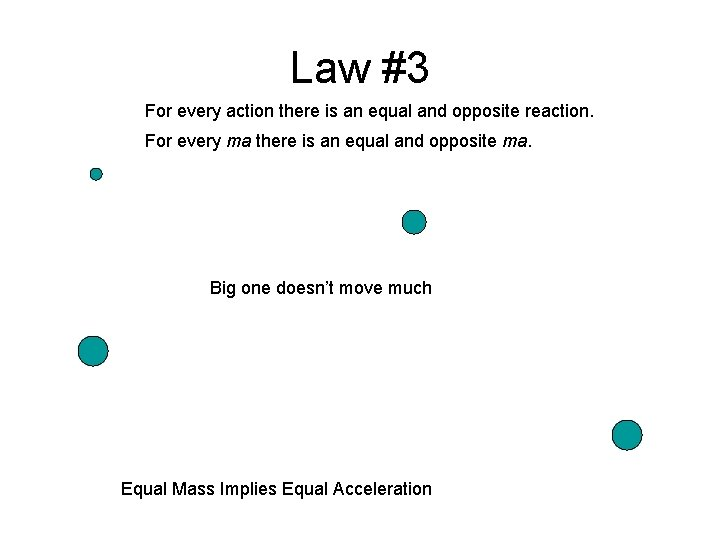 Law #3 For every action there is an equal and opposite reaction. For every
