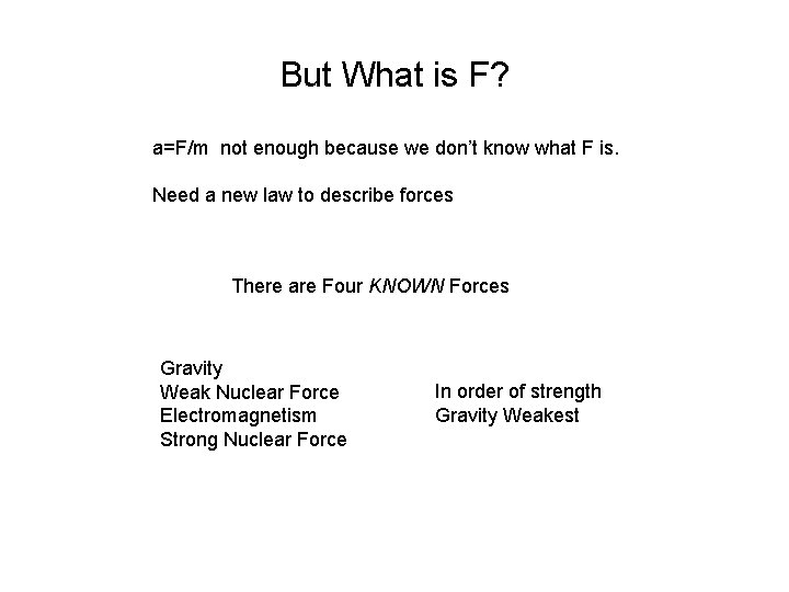 But What is F? a=F/m not enough because we don't know what F is.