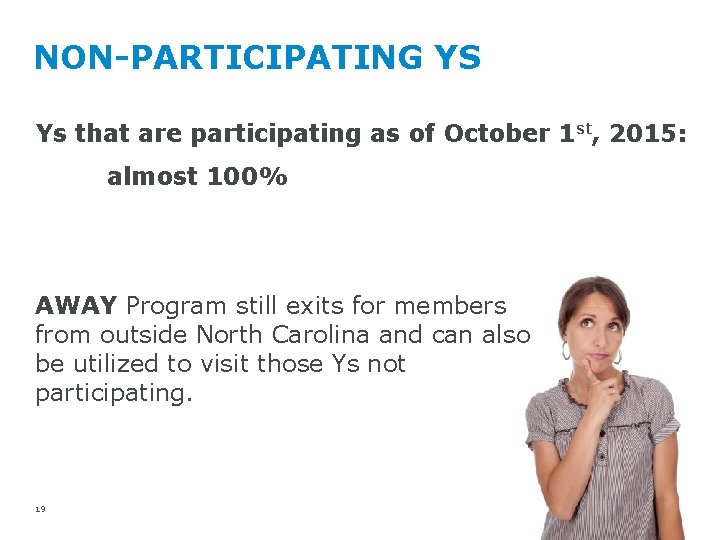 NON-PARTICIPATING YS Ys that are participating as of October 1 st, 2015: almost 100%