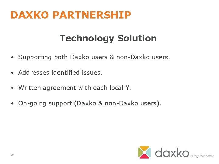 DAXKO PARTNERSHIP Technology Solution • Supporting both Daxko users & non-Daxko users. • Addresses