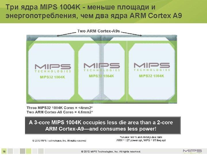 Три ядра MIPS 1004 K - меньше площади и энергопотребления, чем два ядра ARM