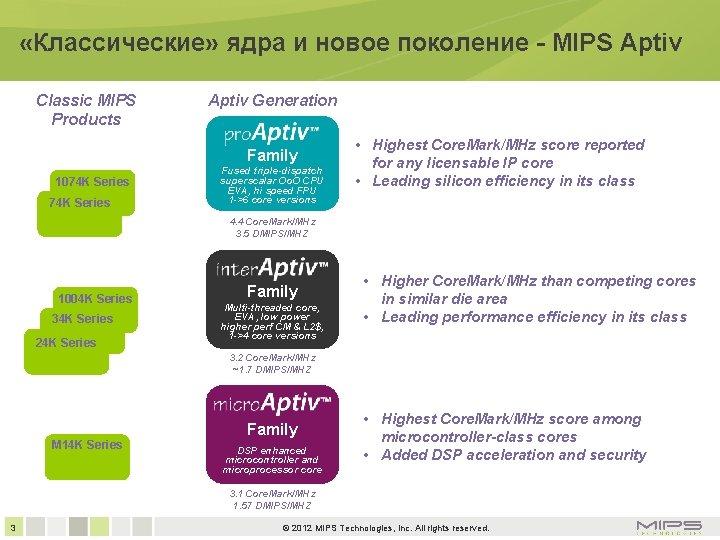 «Классические» ядра и новое поколение - MIPS Aptiv Classic MIPS Products Aptiv Generation