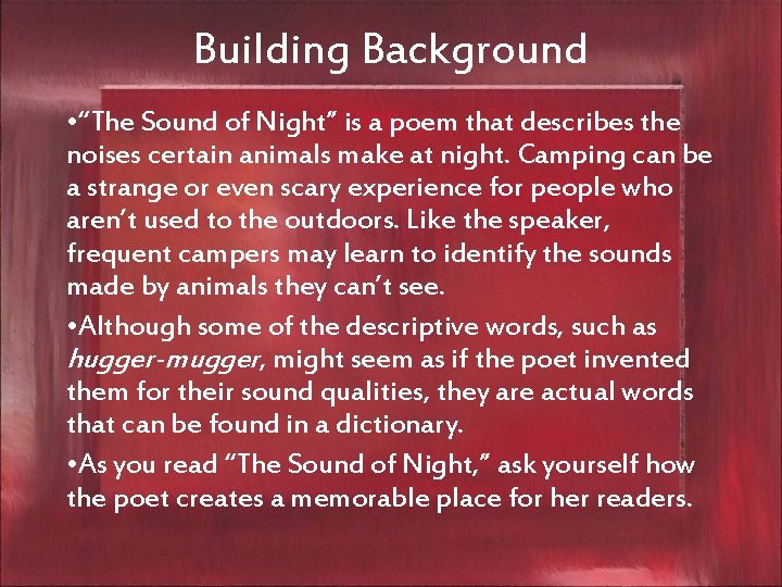 """Building Background • """"The Sound of Night"""" is a poem that describes the noises"""