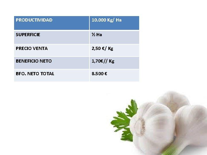 PRODUCTIVIDAD 10. 000 Kg/ Ha SUPERFICIE ½ Ha PRECIO VENTA 2, 50 €/ Kg