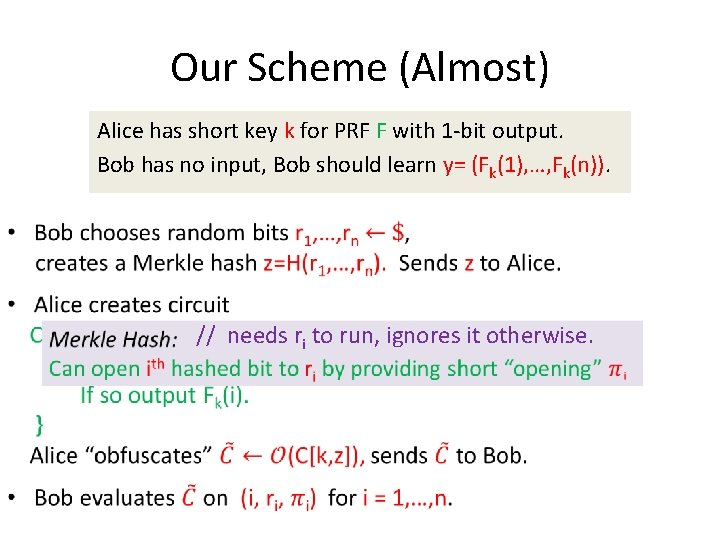 Our Scheme (Almost) • Alice has short key k for PRF F with 1