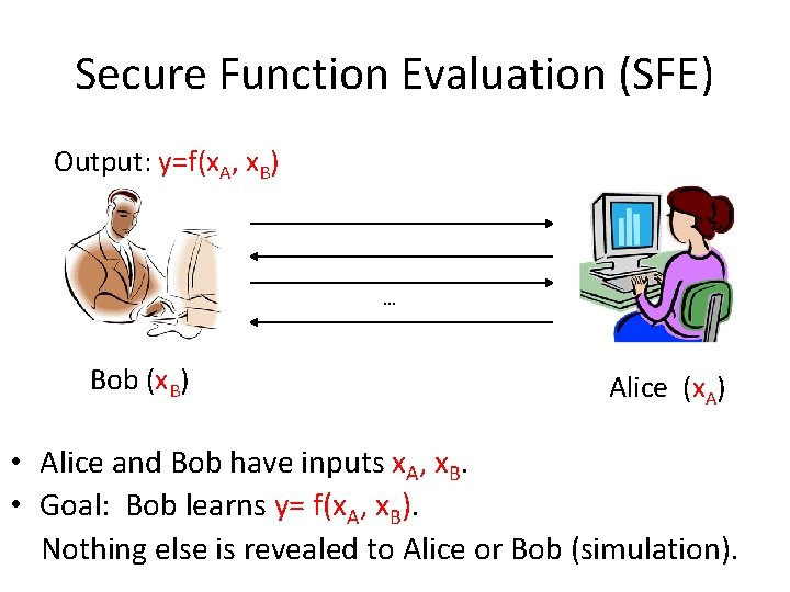 Secure Function Evaluation (SFE) Output: y=f(x. A, x. B) … Bob (x. B) Alice