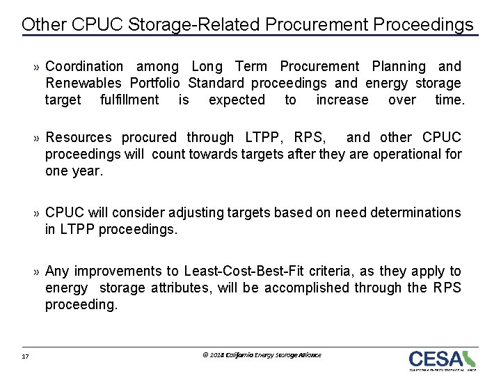 Other CPUC Storage-Related Procurement Proceedings » Coordination among Long Term Procurement Planning and Renewables