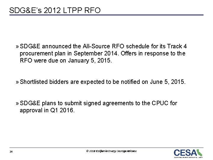 SDG&E's 2012 LTPP RFO » SDG&E announced the All-Source RFO schedule for its Track