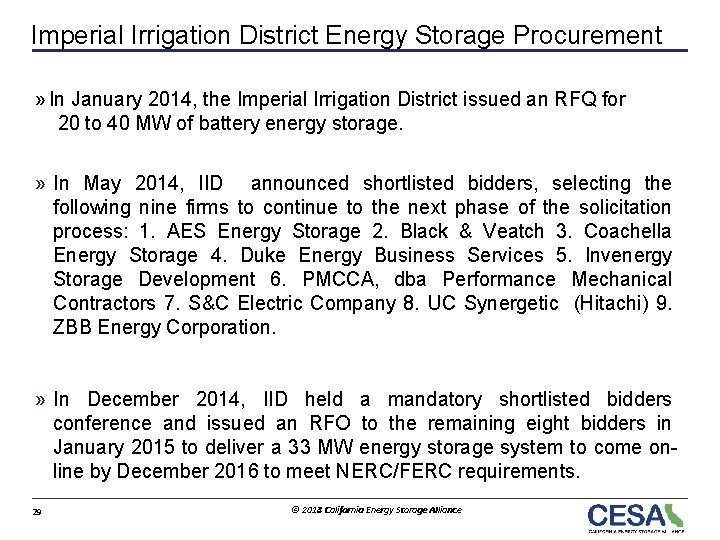 Imperial Irrigation District Energy Storage Procurement » In January 2014, the Imperial Irrigation District