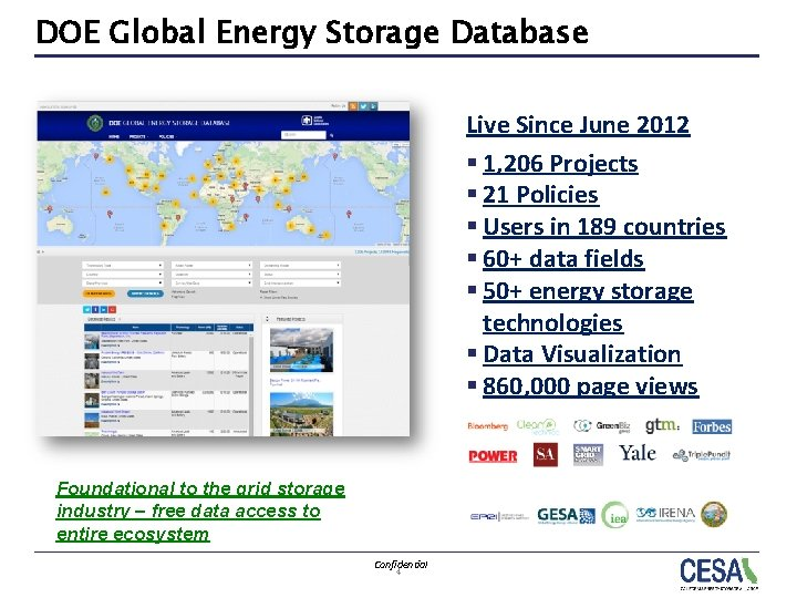 DOE Global Energy Storage Database Live Since June 2012 § 1, 206 Projects §