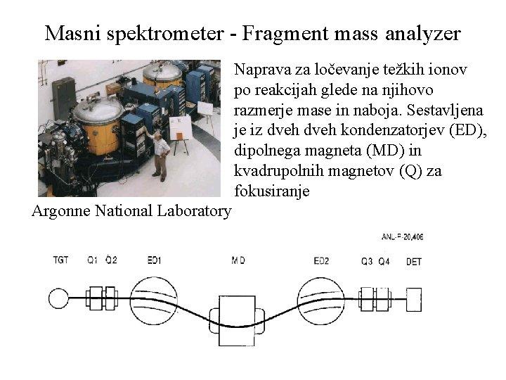 Masni spektrometer - Fragment mass analyzer Naprava za ločevanje težkih ionov po reakcijah glede