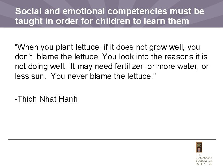 Social and emotional competencies must be taught in order for children to learn them