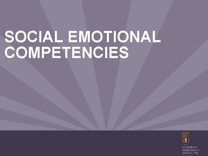 SOCIAL EMOTIONAL COMPETENCIES