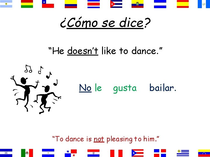"""¿Cómo se dice? """"He doesn't like to dance. """" No le gusta bailar. """"To"""
