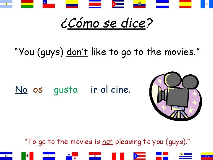 """¿Cómo se dice? """"You (guys) don't like to go to the movies. """" No"""