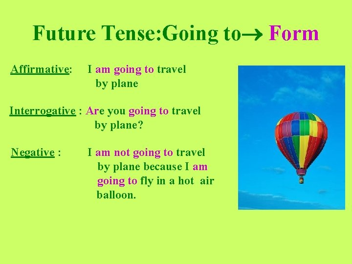 Future Tense: Going to Form Affirmative: I am going to travel by plane Interrogative