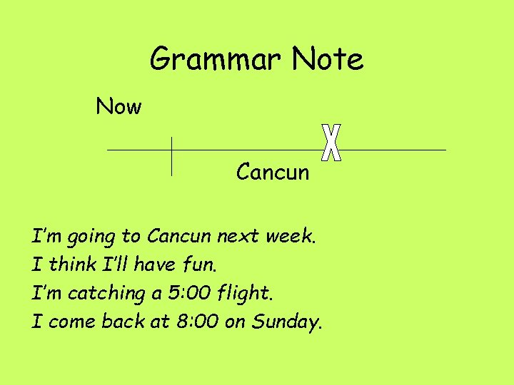 Grammar Note Now Cancun I'm going to Cancun next week. I think I'll have