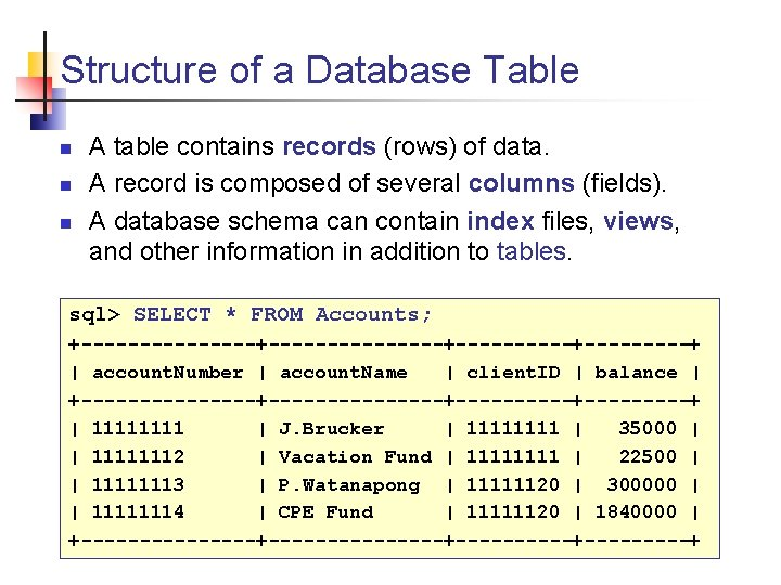 Structure of a Database Table n n n A table contains records (rows) of