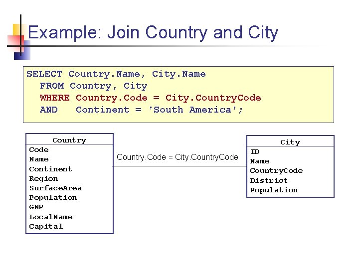 Example: Join Country and City SELECT Country. Name, City. Name FROM Country, City WHERE