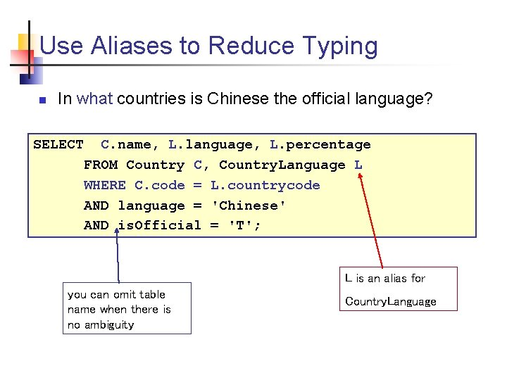 Use Aliases to Reduce Typing n In what countries is Chinese the official language?