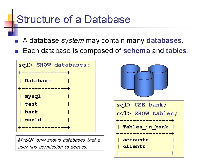 Structure of a Database n n A database system may contain many databases. Each