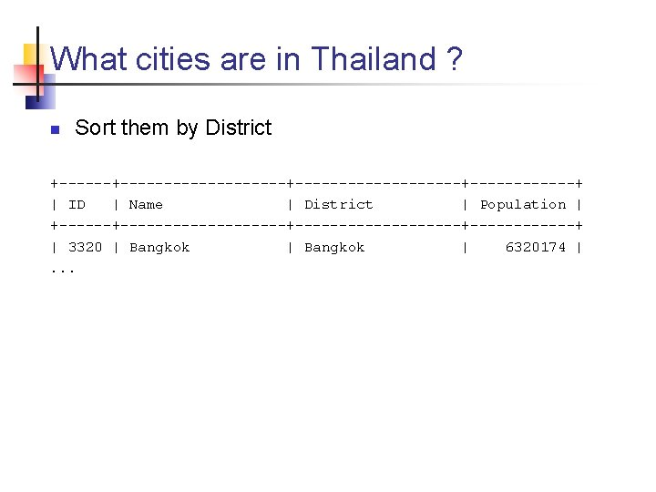 What cities are in Thailand ? n Sort them by District +-------------------+------------+ | ID