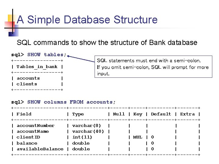 A Simple Database Structure SQL commands to show the structure of Bank database sql>