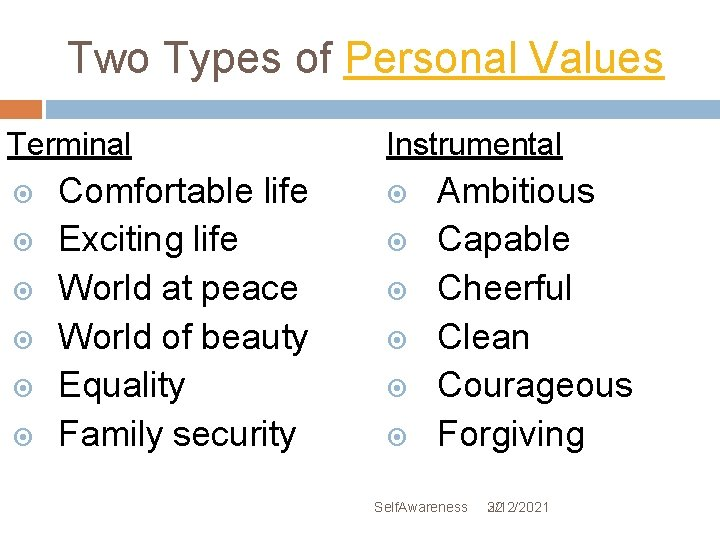 Two Types of Personal Values Terminal Comfortable life Exciting life World at peace