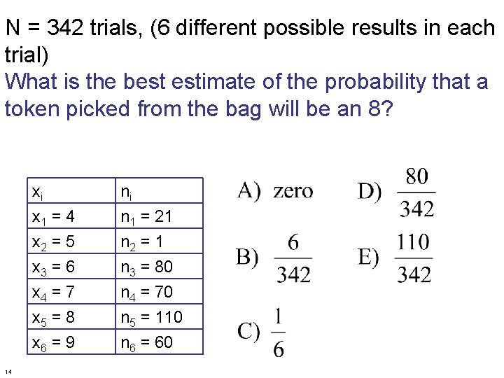 N = 342 trials, (6 different possible results in each trial) What is the