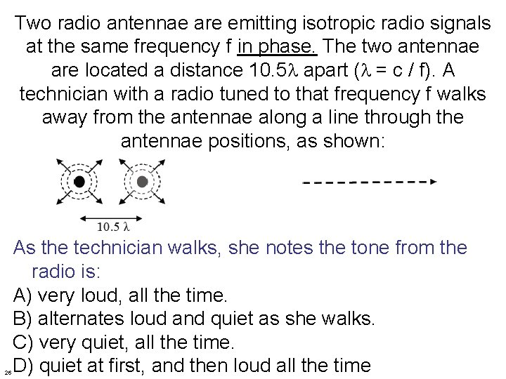Two radio antennae are emitting isotropic radio signals at the same frequency f in