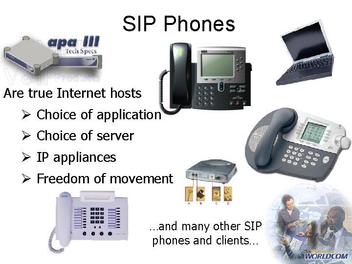 SIP Phones Are true Internet hosts Ø Choice of application Ø Choice of server