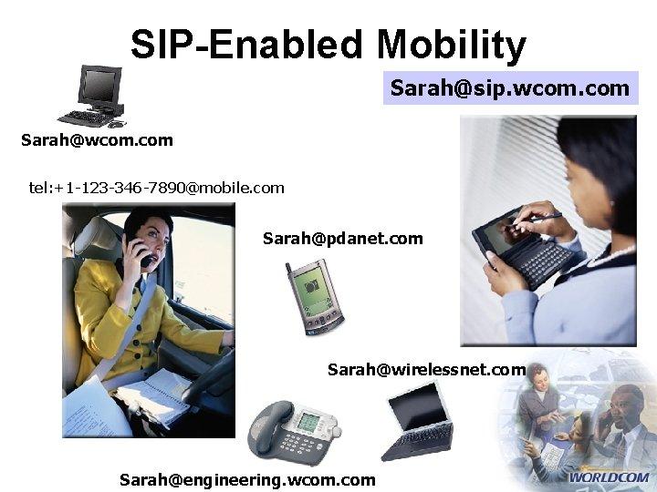 SIP-Enabled Mobility Sarah@sip. wcom. com Sarah@wcom. com tel: +1 -123 -346 -7890@mobile. com Sarah@pdanet.