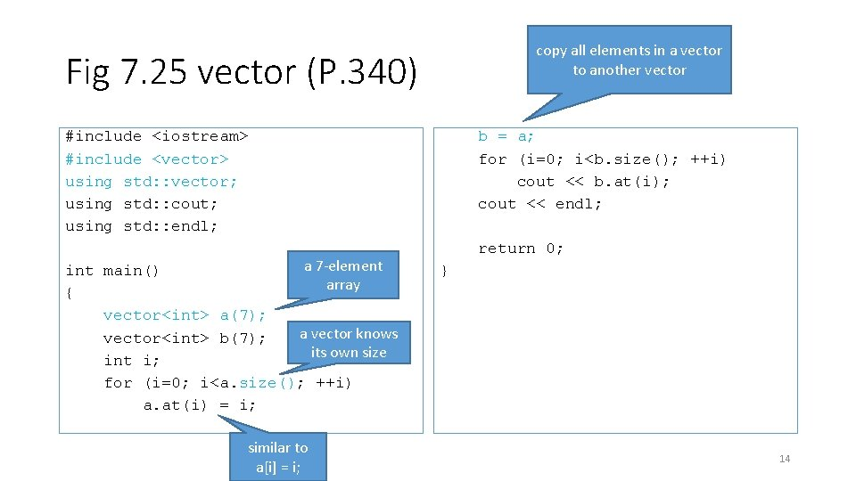 copy all elements in a vector to another vector Fig 7. 25 vector (P.