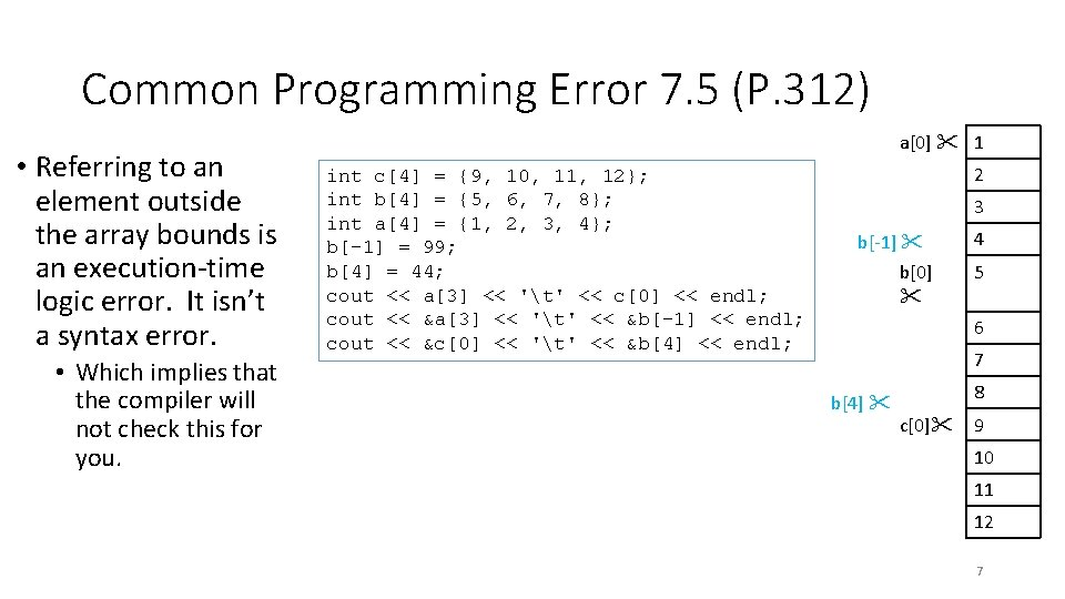 Common Programming Error 7. 5 (P. 312) • Referring to an element outside the