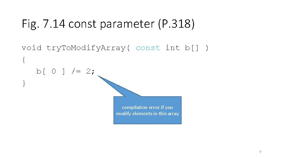 Fig. 7. 14 const parameter (P. 318) void try. To. Modify. Array( const int