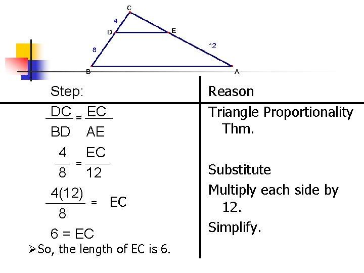 Step: DC = EC BD AE 4 EC = 8 12 4(12) = EC