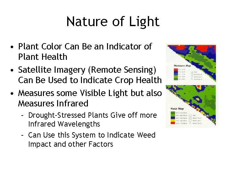 Nature of Light • Plant Color Can Be an Indicator of Plant Health •